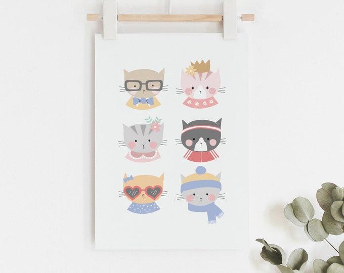 Kitty Cat Faces Art Print