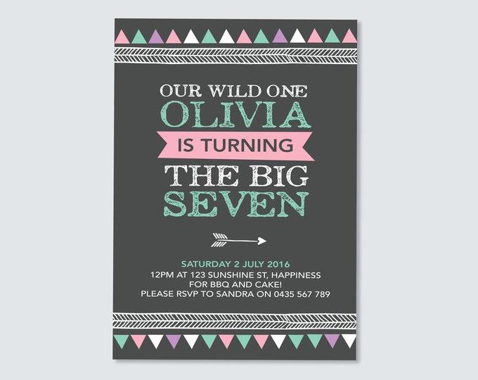 Girls Tribal birthday invitation, printable Aztec Invitation design, girls modern geometric bow and arrow theme, girls wild one invitation