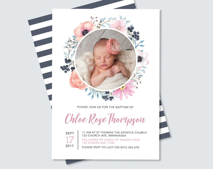 Girl's Floral Baptism or Christening invitation with photo (Digital File)