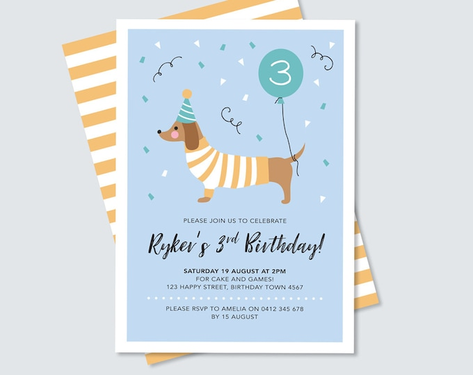 Dog Birthday Invitation / Dachshund Invitation / Kid's Birthday Invitation / Dachshund kid's party / Digital File / Dog party printable