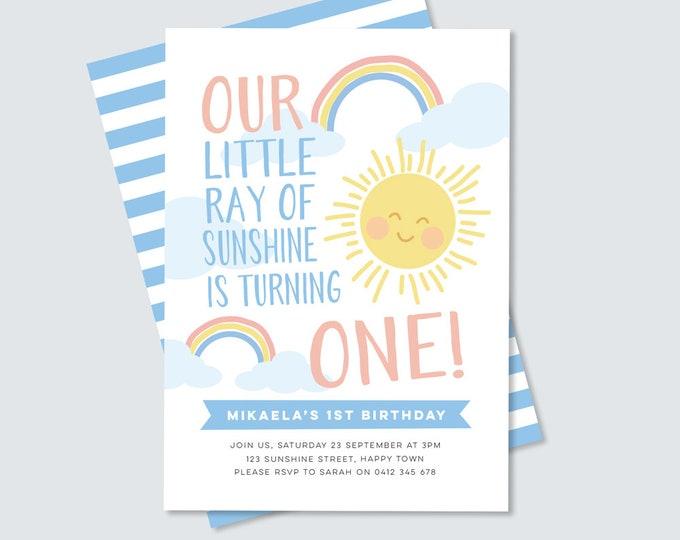 1st Birthday Invitation / Sunshine Birthday / Rainbow party Invitation / A little ray of sunshine birthday, Girl's first birthday Invitation