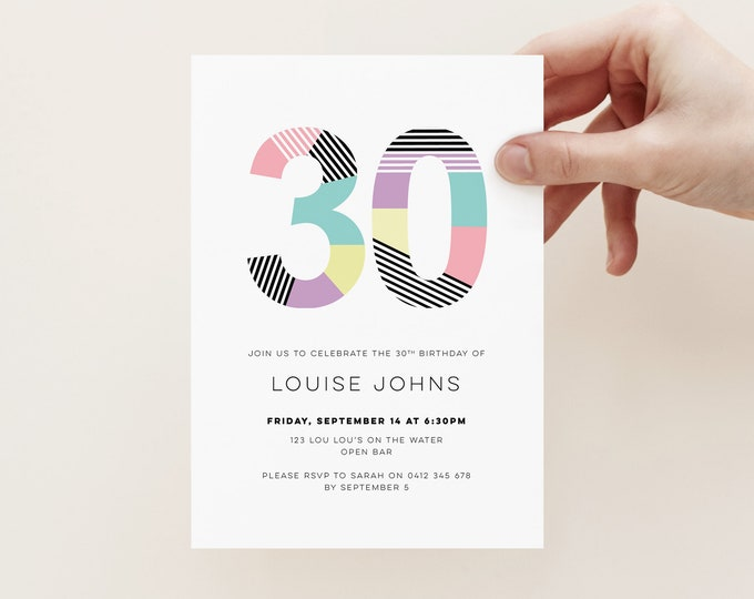 Modern 30th Birthday Invitation for you to print // geometric and colourful 30th printable birthday party invitation // any age!