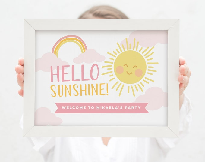 Welcome Sign with rainbow for 1st Birthday / Sunshine Party Printable first birthday Sign / Hello Sunshine Birthday poster - Any Age!
