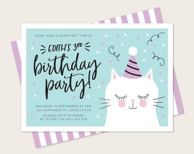Kitty Birthday Invitation in Teal and Purple