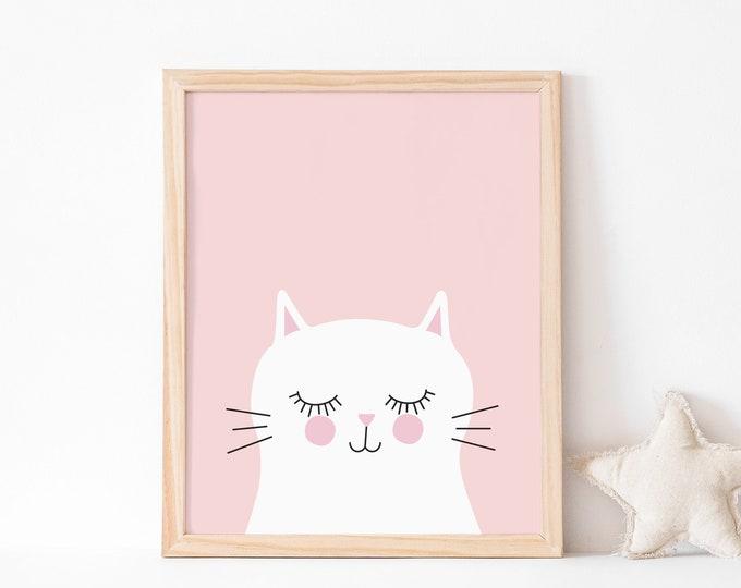 Kitty cat (pink) art print