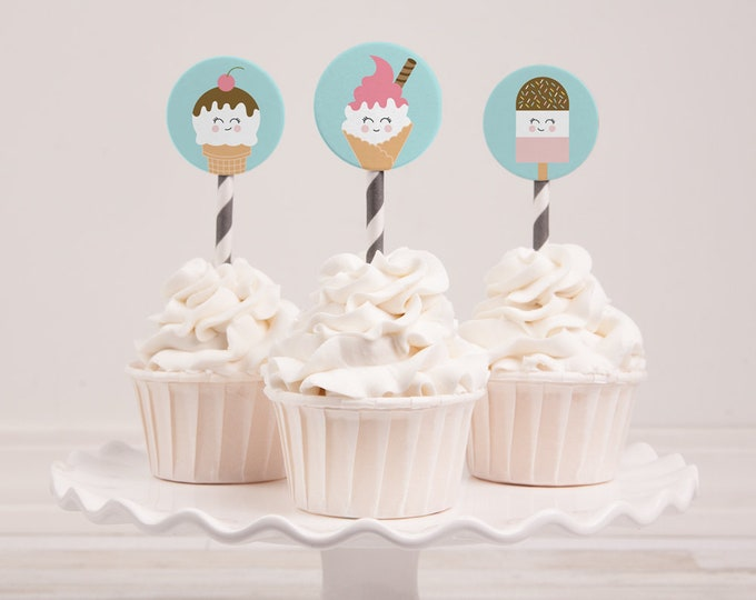 Kids birthday Cupcake toppers / Ice Cream birthday party printables / digital download cupcake toppers / Cute DIY ice cream cupcake toppers
