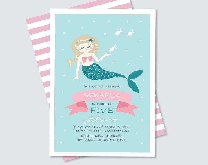 Mermaid birthday party Invitation / Girl's birthday party Invitation / Digital File Party Printable / Under the Sea Party / Pretty Mermaid