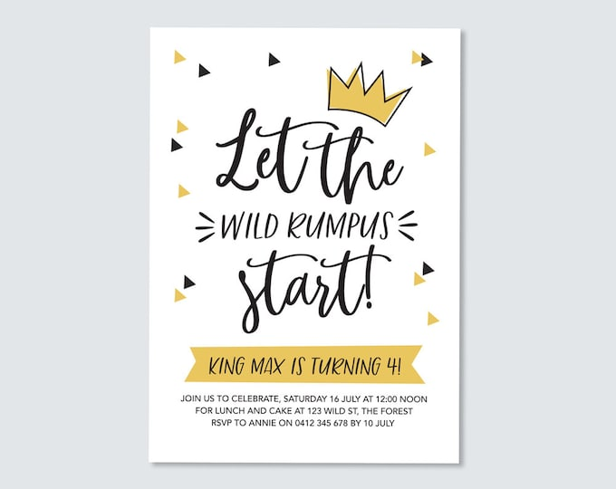 Birthday Invitation Where the wild things are / kid's birthday party Let the Wild Rumpus Start! / Birthday Printable / Boys Birthday Party