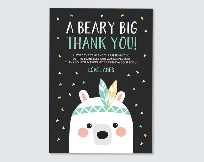 Bear Thank You Card / Kid's birthday Thank You / Woodland Party Printables / Tribal Bear Birthday Party / Boys Birthday Thank You Card