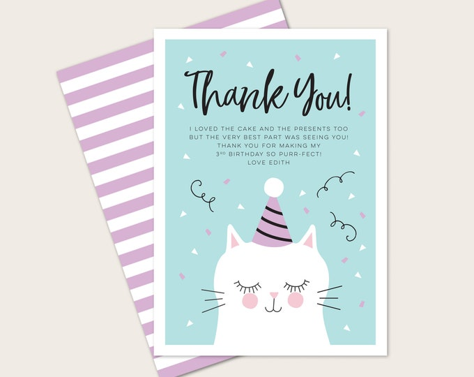 Kitty cat thank you card for kids birthday party // teal and purple, cat thank you card // party printable girls kitten invite