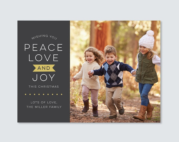Peace love and joy Photo Christmas card