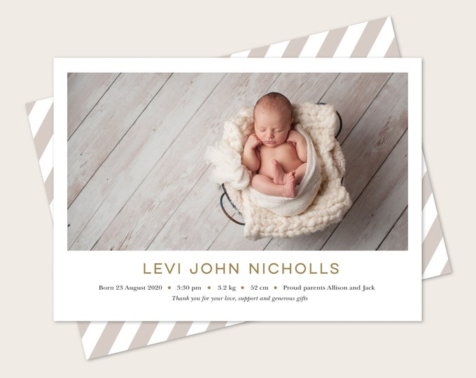 Mint and gold, art deco birth announcement (digital file)