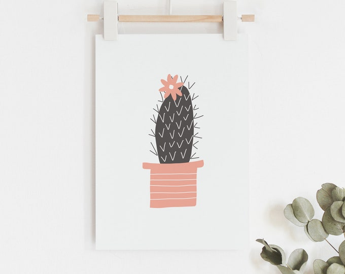 Cactus Art Print in black and yellow