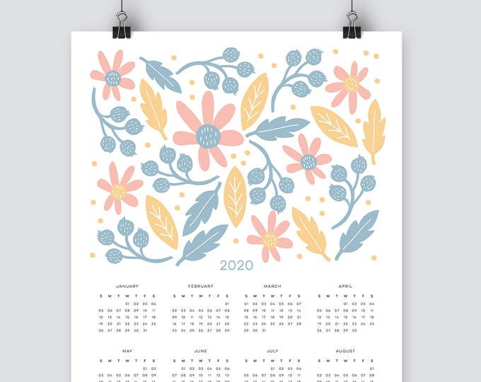 2020 floral Calendar in pastel blue, pink and yellow