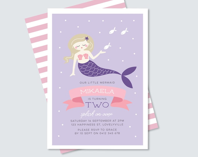 Mermaid birthday party Invitation in purple and pink // Girls mermaid invitation for any age // Under the sea 1st, 2nd, 3rd, 4th birthday