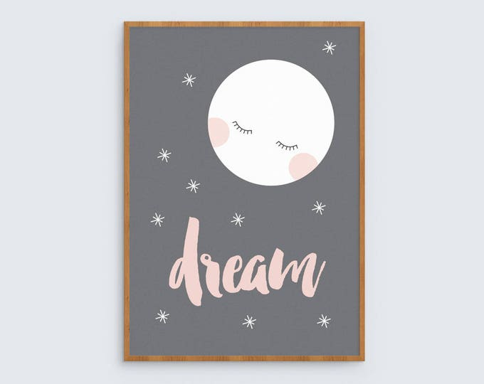 Dream art print in pink with sleepy moon illustration // modern on trend kids decor night time sleep print for baby girls room or nursery