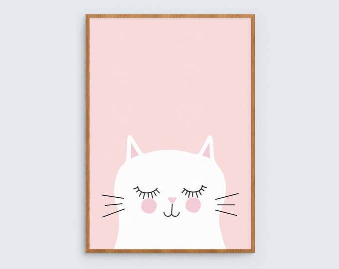 Kitty cat (pink) art print