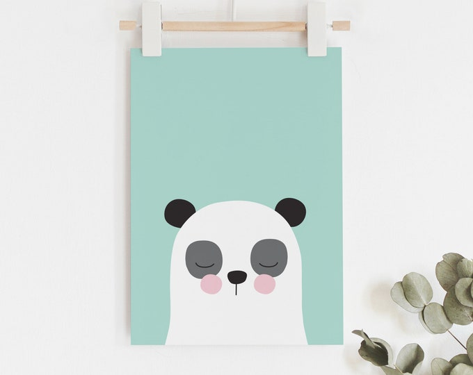 Panda print in teal green kids art print // kids wall art // baby boy print / cute green, black and white panda illustration
