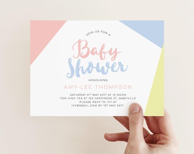 Modern, Gender neutral Baby shower invitation (Digital File)