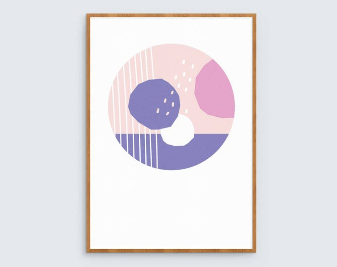 Modern abstract art print in pink and purple