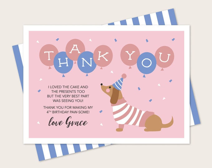 Dachshund dog Kids Thank You card for Birthday - Any Age! Pink