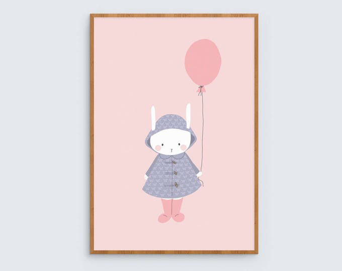 Bunny with Balloon Art Print