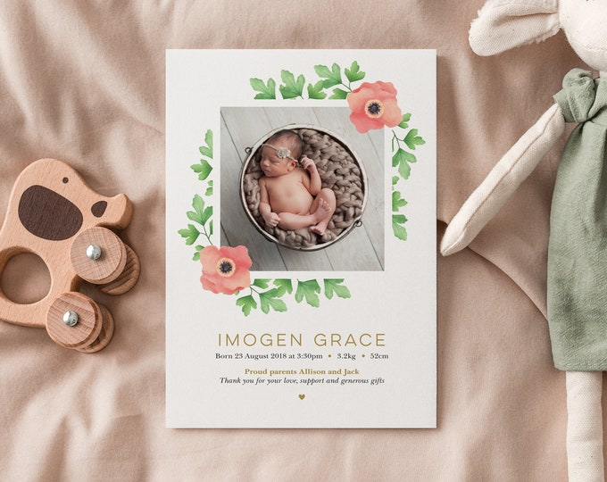 Gold, Floral Birth Announcement for baby girl / beautiful and modern, girl's birth announcement card / newborn thank you card with photo