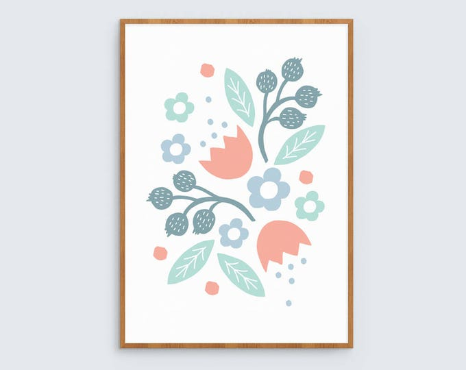 Floral art print in teal, baby blue and peach 1