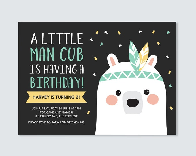Bear Cub Birthday Invitation / Wild one Party Invitation / Man Cub 2nd Birthday / woodland invitation boys tribal birthday party invitation