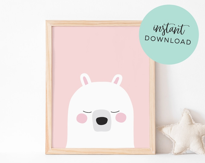 Pink Bear Art Print (INSTANT DOWNLOAD)