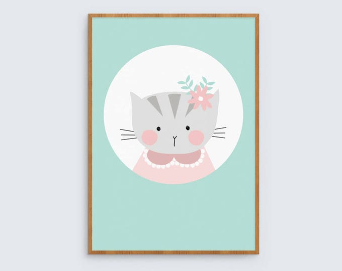 Girls art print Cute kitty cat with flower in hair, Miss Kitty // kids room illustrated wall art print // Girl's room decor wall print