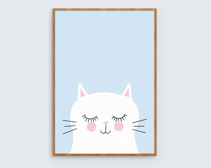 Kitty cat in blue kids art print // girls room art print // kids wall art // baby girl print // cute white cat illustration for girls room
