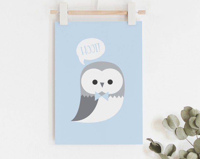 Blue and Grey Owl Nursery Print