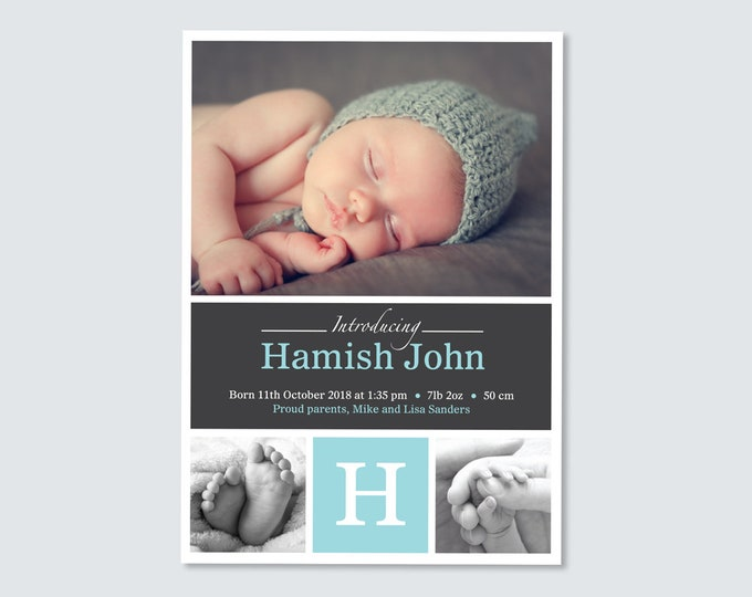 Baby Boy Birth Announcement (Digital File) - I customise for you to print. Blue and Grey multiple photo card. Personalised with Photo.