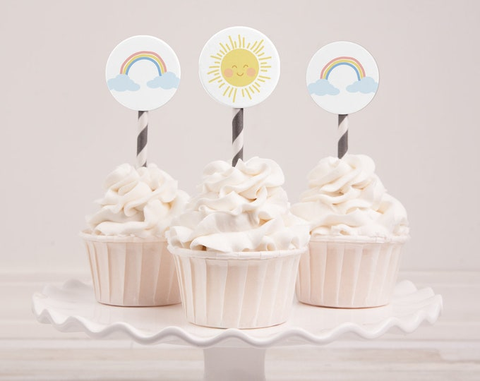 Rainbow and sunshine Cupcake Toppers (INSTANT DOWNLOAD)