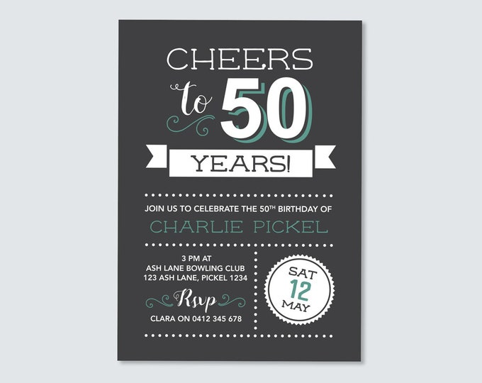 Cheers to 50 years! 50th Birthday Invitation - for any age! fiftieth Birthday Invite // Vintage Chalkboard style. Invitation for Men.