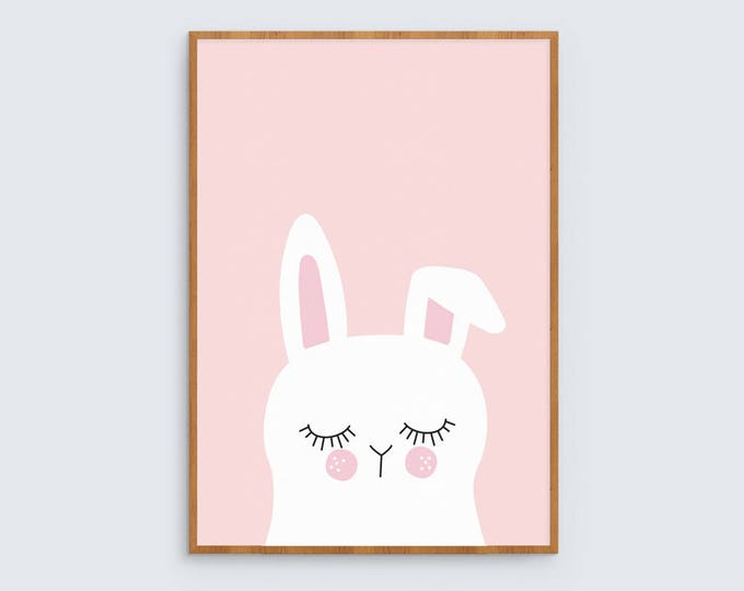 Pink Bunny Rabbit Art Print