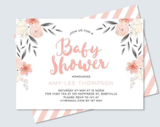 Pretty, Gender neutral Baby shower invitation (Digital File)