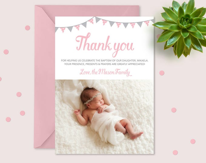 Girls Thank you card for Christening/Baptism with bunting // Modern and clean design // girls photo thank you card in pink and grey bunting