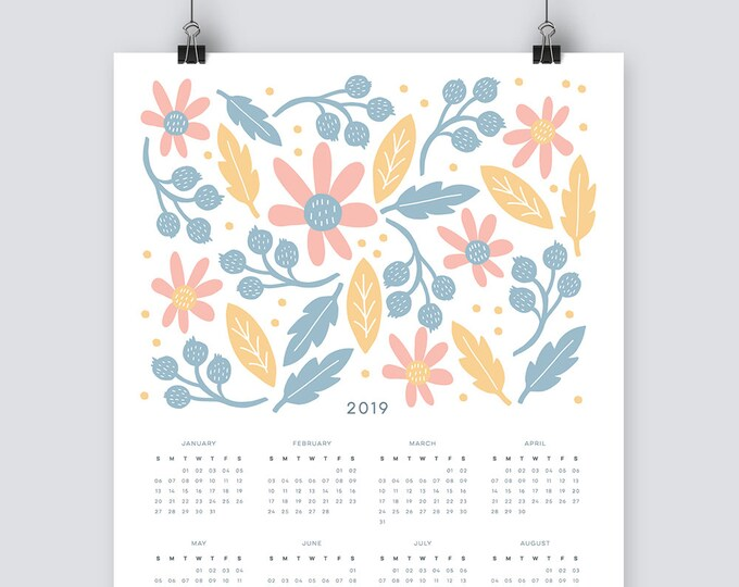 2019 floral Calendar in pastel blue, pink and yellow