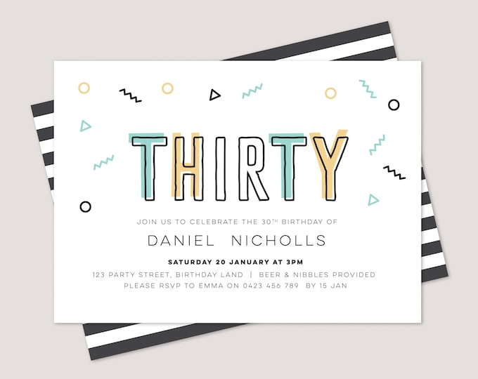 Geometric and modern 30th birthday invitation for men / Adult birthday Invitation 30th 40th 50th 20th 21st Any age! / Birthday Printable