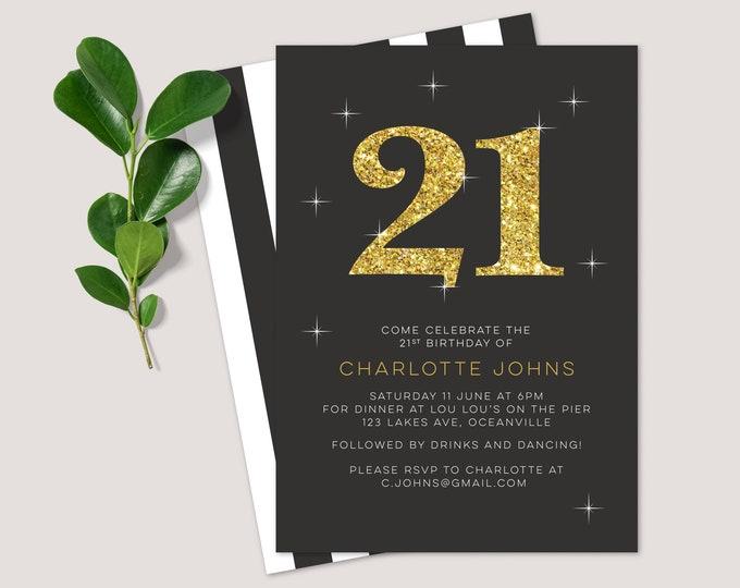 Glitter 21st Birthday Invitation - for any age! (Digital File)