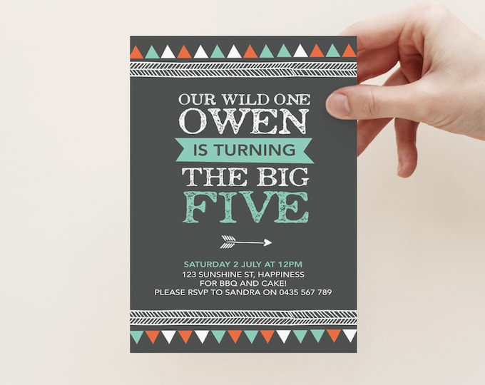 Boys Tribal invitation (Digital File) // I customise for you to print // Any Age! // chalkboard triangle/geometric/tribal invite