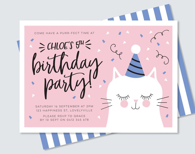 Kitty cat birthday invitation in pink and blue, purr-fect cute illustrated cat party invitation // girl's kitten 5th birthday pink and blue