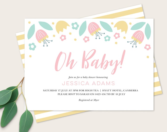 Oh Baby Baby Shower Invitation / Pink and Yellow, Baby Girl Baby Shower / Printable File Baby Shower / Pretty Floral Baby Shower Invite