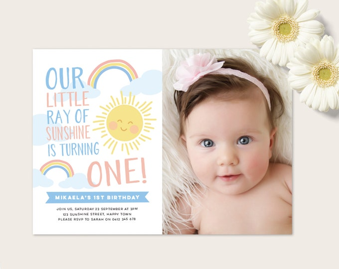 Rainbow and Sunshine Invitation - Blue