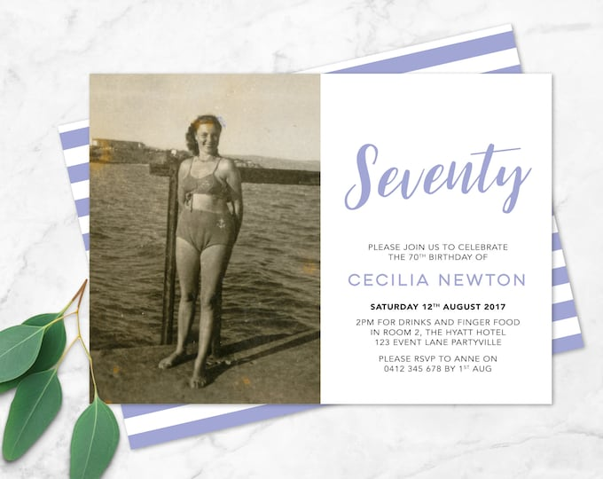 70th Birthday Invitation - Any age! (digital file)