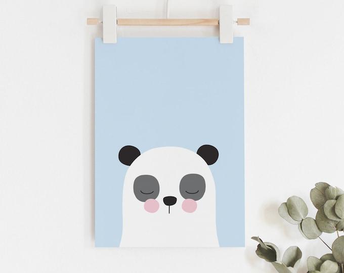 Panda print in blue kids art print // boys room art print // kids wall art // baby boy print / cute blue, black and white panda illustration