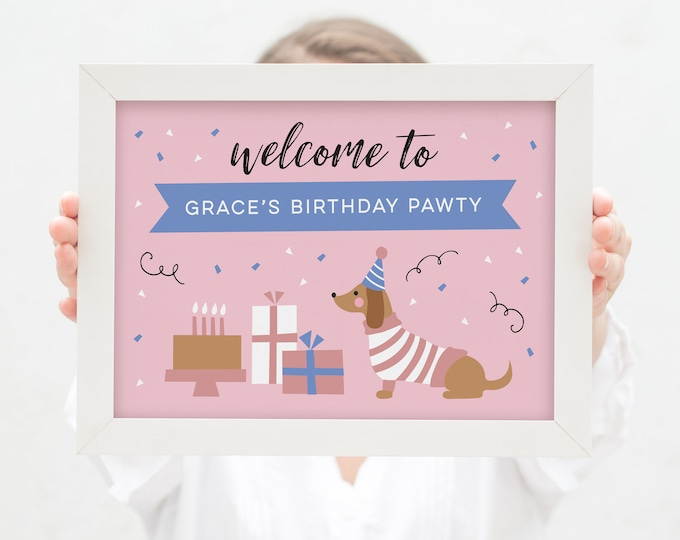 Dachshund dog Party Welcome Sign