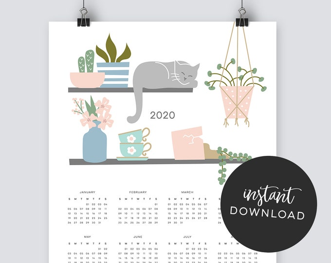 Instant Download - 2020 Cat Calendar